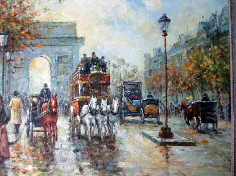 Arc de Triomphe, Paris, oil on board, unsigned. c1990. Detail.