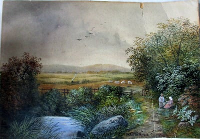 Scene in Lancashire, near Bolton, signed W.J. Smith 1885. Watercolour on pa