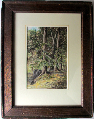 Forest scene, watercolour on paper, signed Karl de Grammont 1976. Framed an