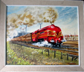 LMS Coronation Class 7P Queen Elizabeth 6221, oil on board, signed B.S. Goldbey 1987.