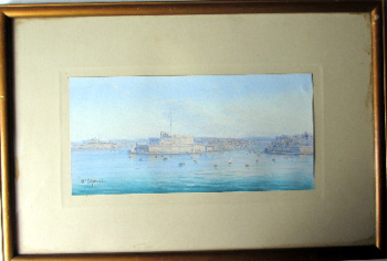 A triptych of Maltese Harbour Views, gouache on paper, signed D'Esposito. c1900.   SOLD 10.06.2013.