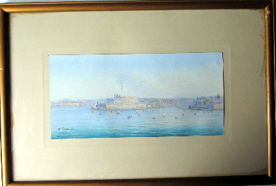 A triptych of Maltese Harbour Views, gouache on paper, signed D'Esposito. c