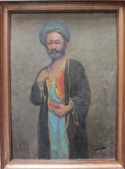 Portrait of a Middle Eastern Man in Robes, oil on board, signed Florez. c1900.  SOLD.