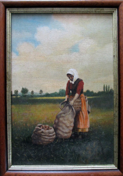 Turkish potato harvester, oil on board, signed G. Hovers. c1960.