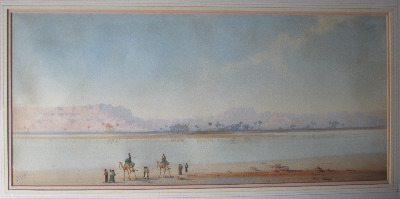 Along the Banks of the Nile, watercolour on paper, signed Augustus Osborne