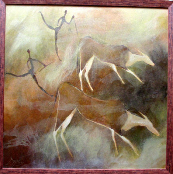 The Eland Hunt, South African ethnic art, acrylic on board, indistinctly signed. c1980.  SOLD  09.02.2014.