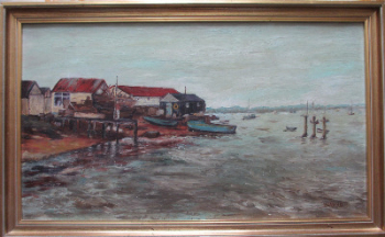 Boat-yard on the Thames Estuary, oil on board, signed P.M. Arnold, c1980