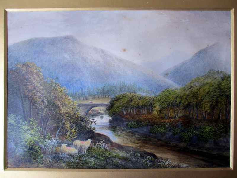 Pont Aberglaslyn North Wales, signed W.J. Smith 1885.