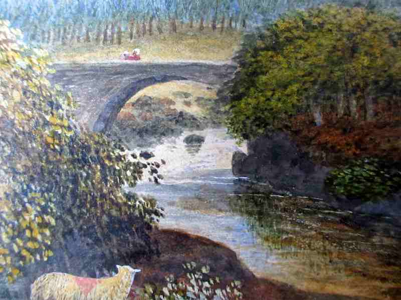 Pont Aberglaslyn North Wales, signed W.J. Smith 1885. Detail.