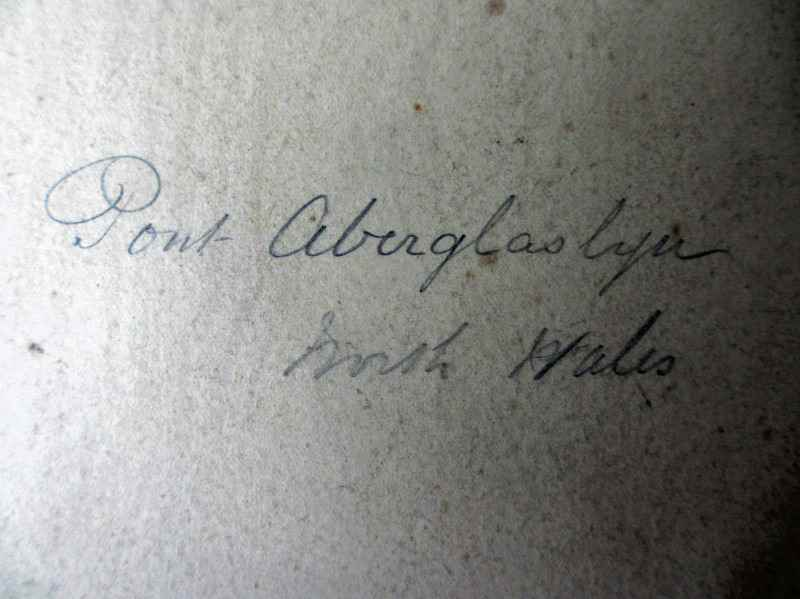 Pont Aberglaslyn North Wales, signed W.J. Smith 1885. Script on backing card.