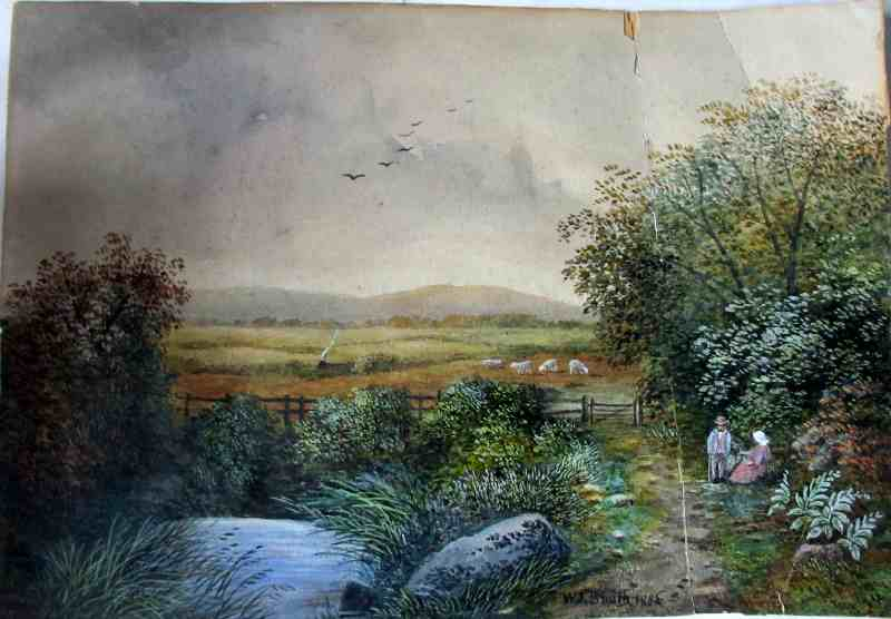 Scene in Lancashire Near Bolton signed W.J. Smith 1885. Watercolour on paper pasted to card.
