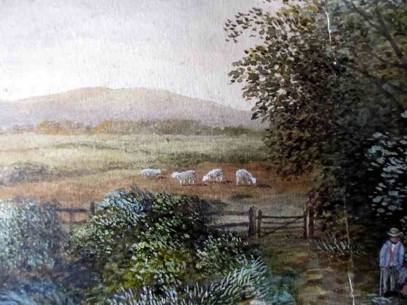 Scene in Lancashire Near Bolton signed W.J. Smith 1885. Watercolour on paper pasted to card. Detail of damage.