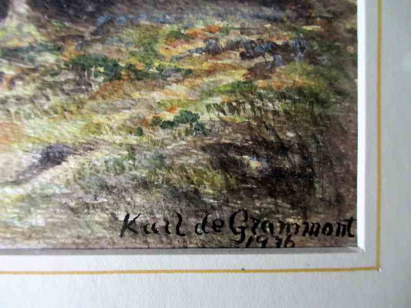 Forest Scene signed Karl de Grammont 1976, watercolour on paper. Artist's signature.