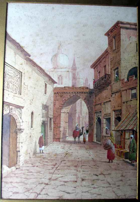 An Arabian Street Scene with Figures and Camel, watercolour on paper, signed A. Lewis, 1901. Framed and glazed. Detail.