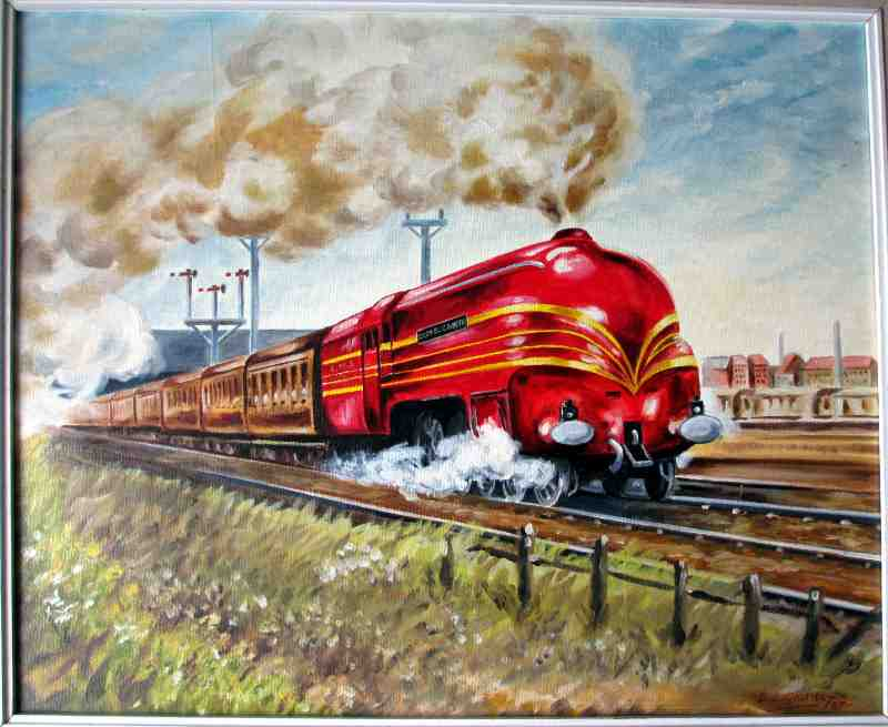 LMS Coronation Class 7P 4-6-2 Queen Elizabeth 6221, oil on board, signed B.S. Goldbly, 1987.