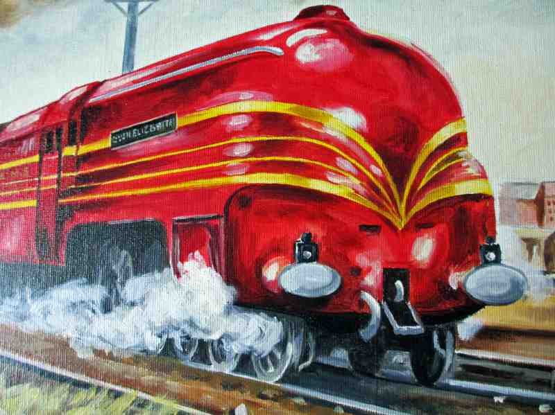 LMS Coronation Class 7P 4-6-2 Queen Elizabeth 6221, oil on board, signed B.S. Goldbly, 1987. Detail.