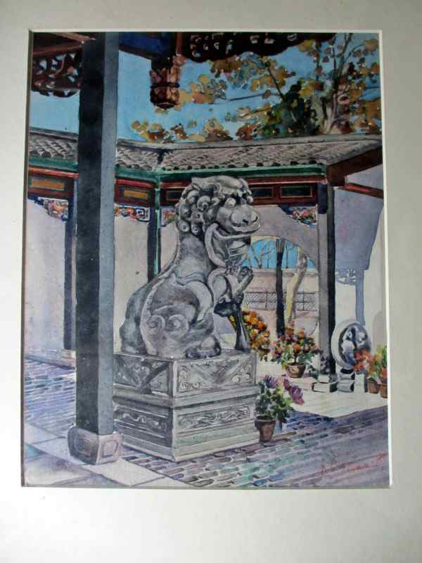 Chinese Shishi, Temple Guardian Lion icon, watercolour on paper, signed A. Clemet, 1881.