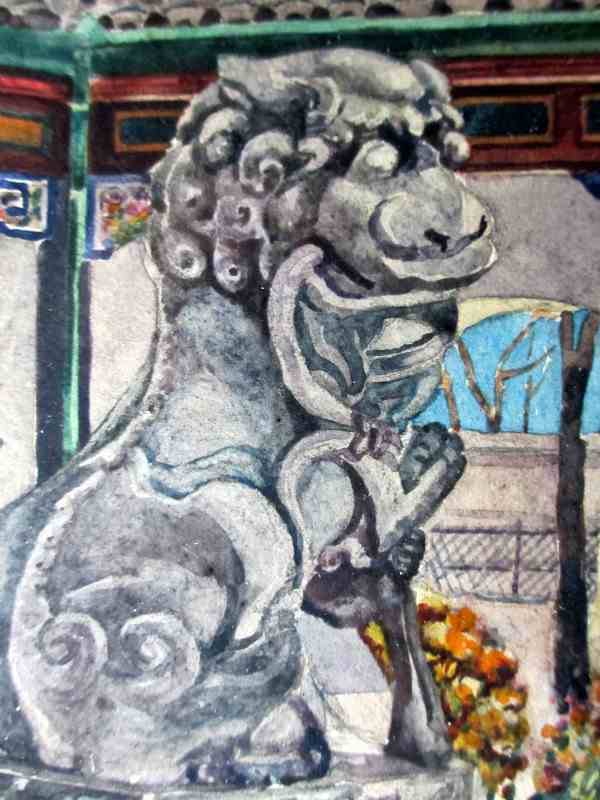 Chinese Shishi, Temple Guardian Lion icon, watercolour on paper, signed A. Clemet, 1881. Detail.