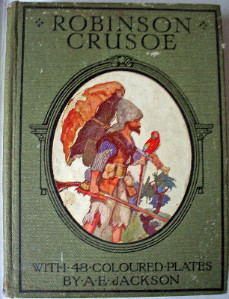 Robinson Crusoe by Daniel Defoe with 48 coloured plates by A.E. Jackson 1921 First Edition.