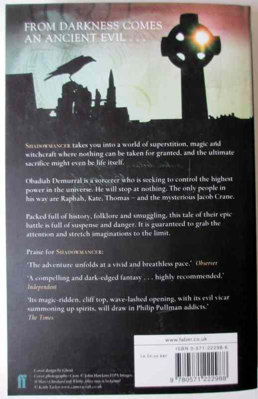 Shadowmancer by G.P. Taylor. Limited Edition 9/20, signed by the author 2003. With colourcard of author signing. Back cover.