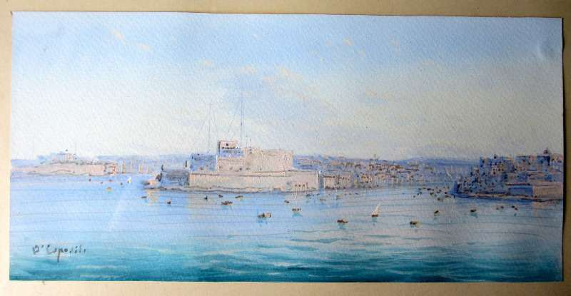 Fort St Angelo - Malta. French Creek - M. Bighi, signed D'Esposito, c1900. Detail.