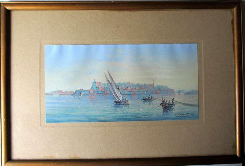 Fort St Elmo - Malta, signed D'Esposito, c1900. Detail.