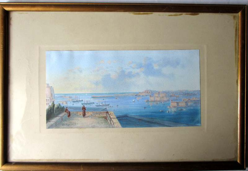 Entrance to the Grand Harbour - Malta. Signed D'Esposito. c1900.