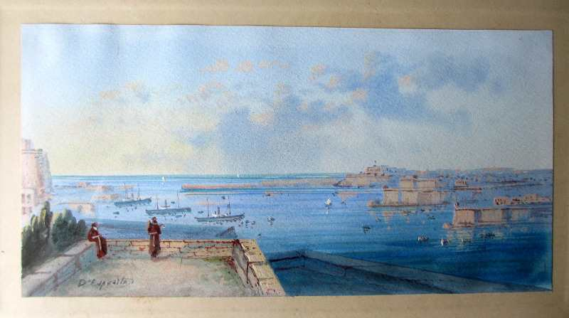Entrance to the Grand Harbour - Malta. Signed D'Esposito. c1900. Detail.