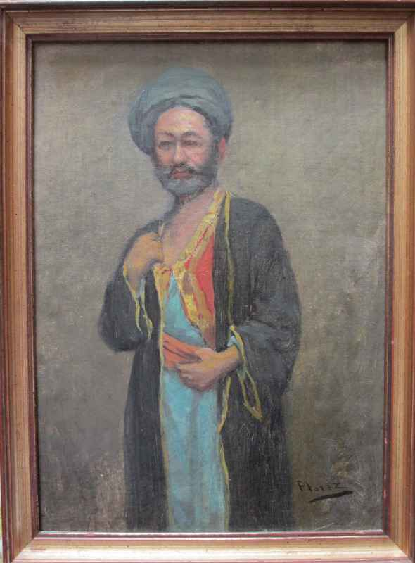 Portrait of a Middle Eastern Man in Robes, oil on board,  signed Florez. c1900.