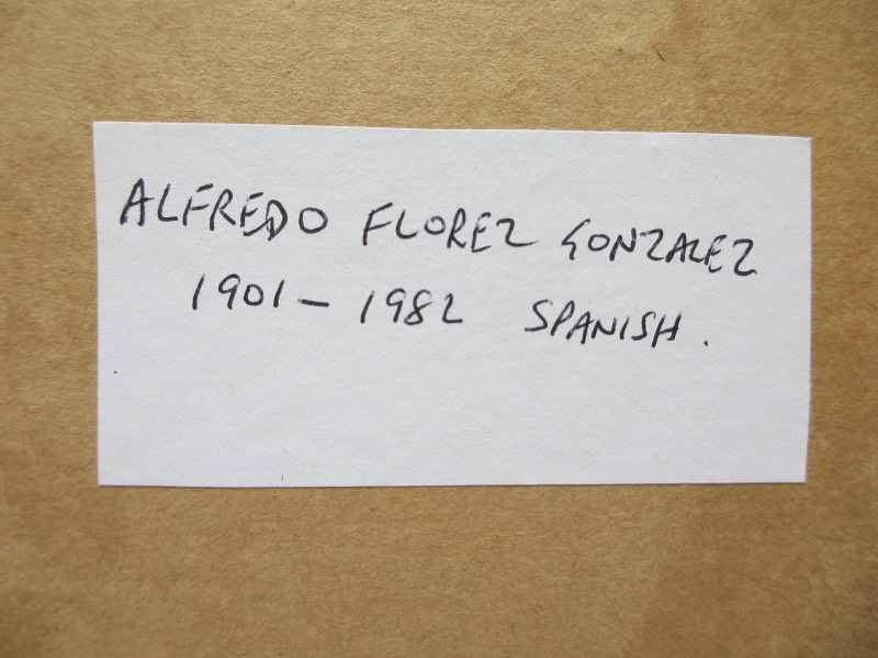 Portrait of a Middle Eastern Man in Robes, oil on board,  signed Florez. c1900. Label attached.