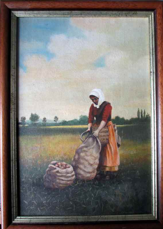 Turkish potato harvester, oil on board, signed G. Hovers, c1960.