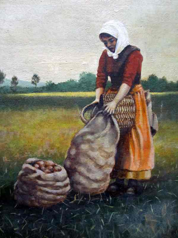 Turkish potato harvester, oil on board, signed G. Hovers, c1960. Detailed view.