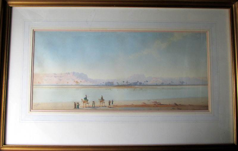 Along the Banks of the Nile, watercolour on paper, signed Augustus Osborne Lamplough, c1900.