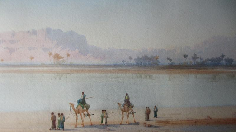 Along the Banks of the Nile, watercolour on paper, signed Augustus Osborne Lamplough, c1900. Detail.