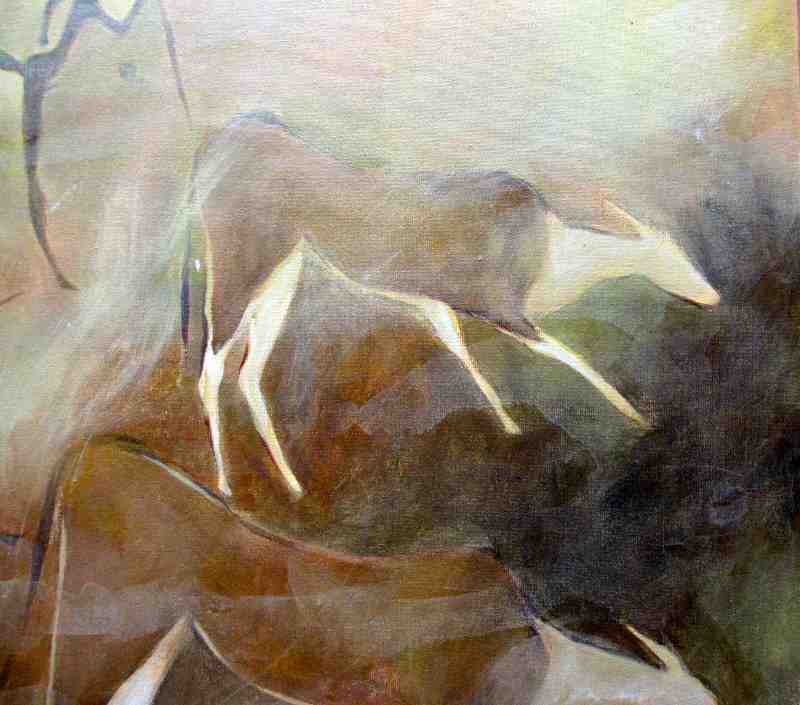 The Eland Hunt, acrylic on board, indistinctly signed. c1980. Detail.