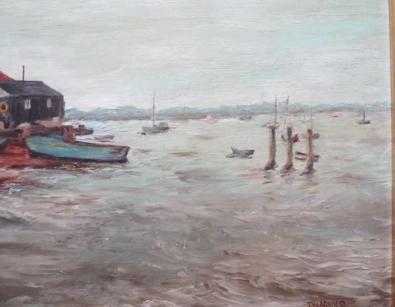 Boat-yard on the Estuary, oil on board, signed P.M. Arnold. c1980. Detail.