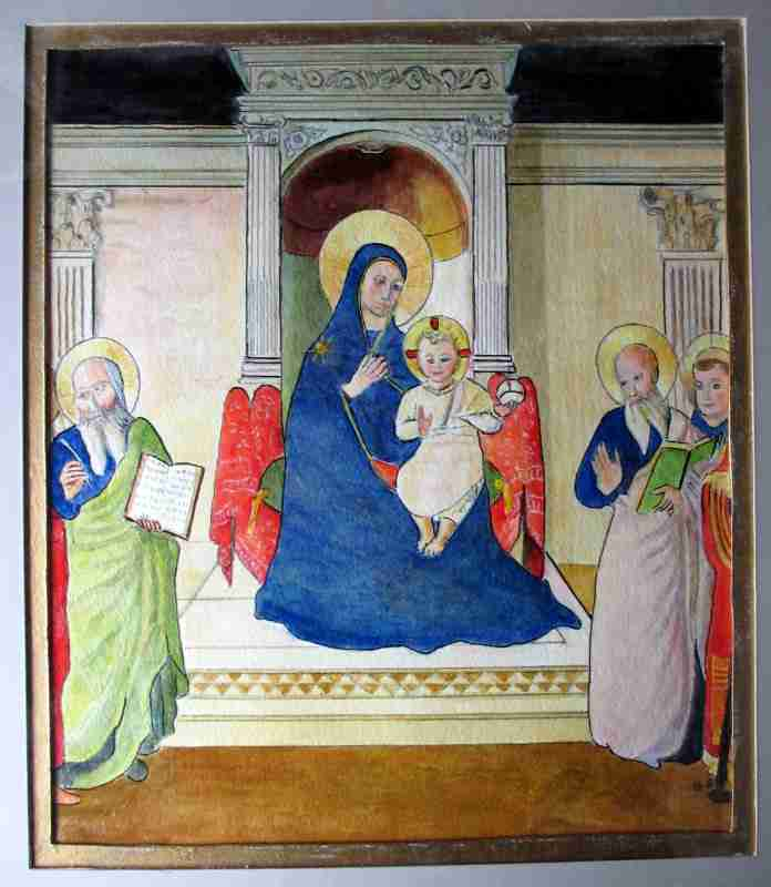 Madonna and Child with Saints, mixed media, signed monogram B.S., 20th C.
