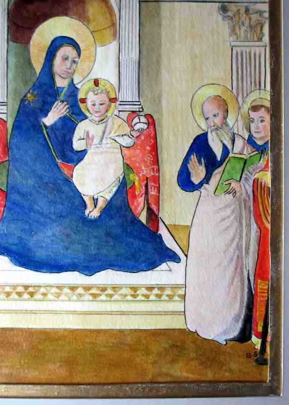 Madonna and Child with Saints, mixed media, signed monogram B.S., 20th C. Detail.