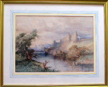 Fisherman below Richmond Castle, Swaledale, North Yorkshire, watercolour on paper, signed C.R. Yates 1921.