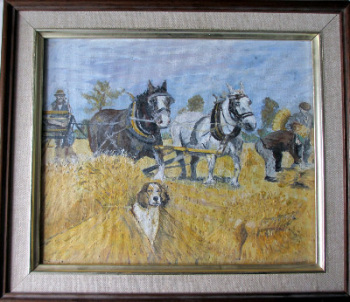 Harvesting, oil on board, signed indistinctly, c1980.  SOLD.