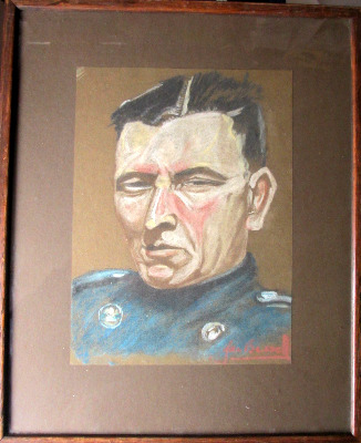 Commandant, pastel on paper, signed Jan Bessell. 20th C East European Schoo
