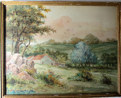 English landscape, watercolour on paper, signed J.M. Laidman, c1930.  SOLD.