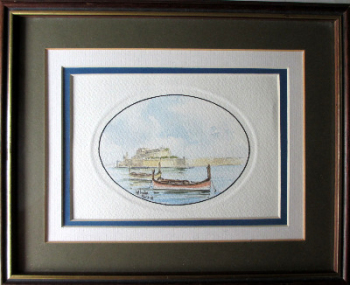 Boats in the Grand Harbour Valletta, watercolour on paper, signed Aldo Galea 1989.   SOLD 23.04.2014.