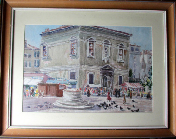 A Venice Street Market, watercolour on paper, signed A.O. Lamplough, c 1920.  SOLD  13.03.2014.