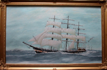 Three-Masted Square-Rigger Underway, oil on board, signed Bill Welburn 1985.   SOLD.