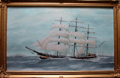 Three-Masted Square-Rigger Underway, oil on board, signed Bill Welburn 1985