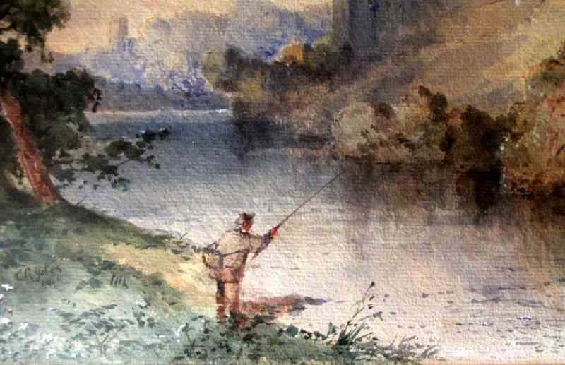 Fisherman below Richmond Castle, Swaledale, North Yorkshire, signed C.R. Yates, 1921. Detail.