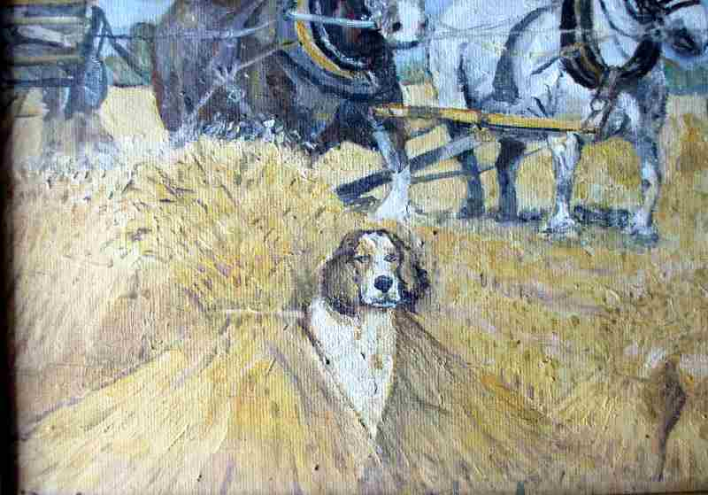 Harvesting, oil on board, indistictly signed. c1980.