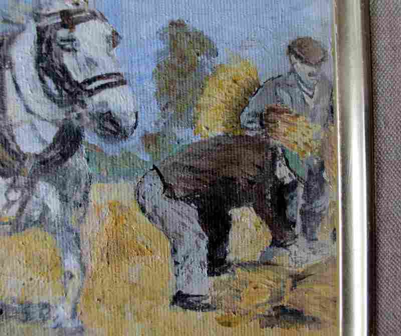 Harvesting, oil on board, indistictly signed. c1980. Detail.