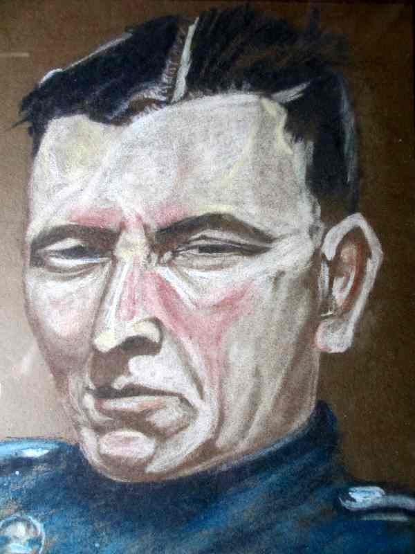 Commandant, pastel on paper, signed Jan Bessell, 20th C East European School. Detail.